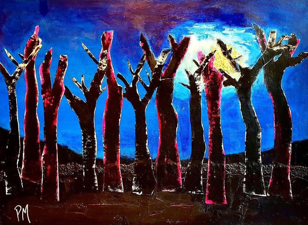 Philip McCumskey - Moonlit Trees - acrylic and collage on paper - 40 x 60 cm - £160
