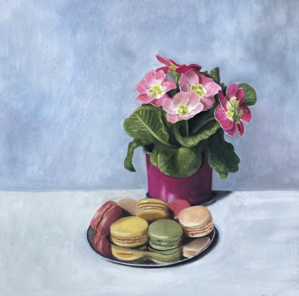 Nicola Currie - Primulas and Macaroons - Oil painting on gessoboard - 30.48 x 30.48 cm - painting Framed in a double white and duck egg blue frame - £250 (prices may slightly differ if purchasing outside the UK)