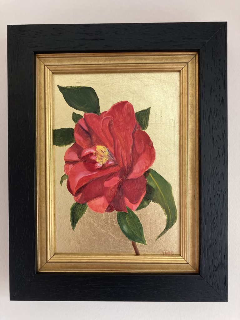 Nicola Currie - Red Camellia on Gold - Oil painting on gesso board with imitation gold leaf - 12.7 x 17.75 cm - Framed in a double black and gold wood frame - £200 (prices may slightly differ if purchasing outside the UK)