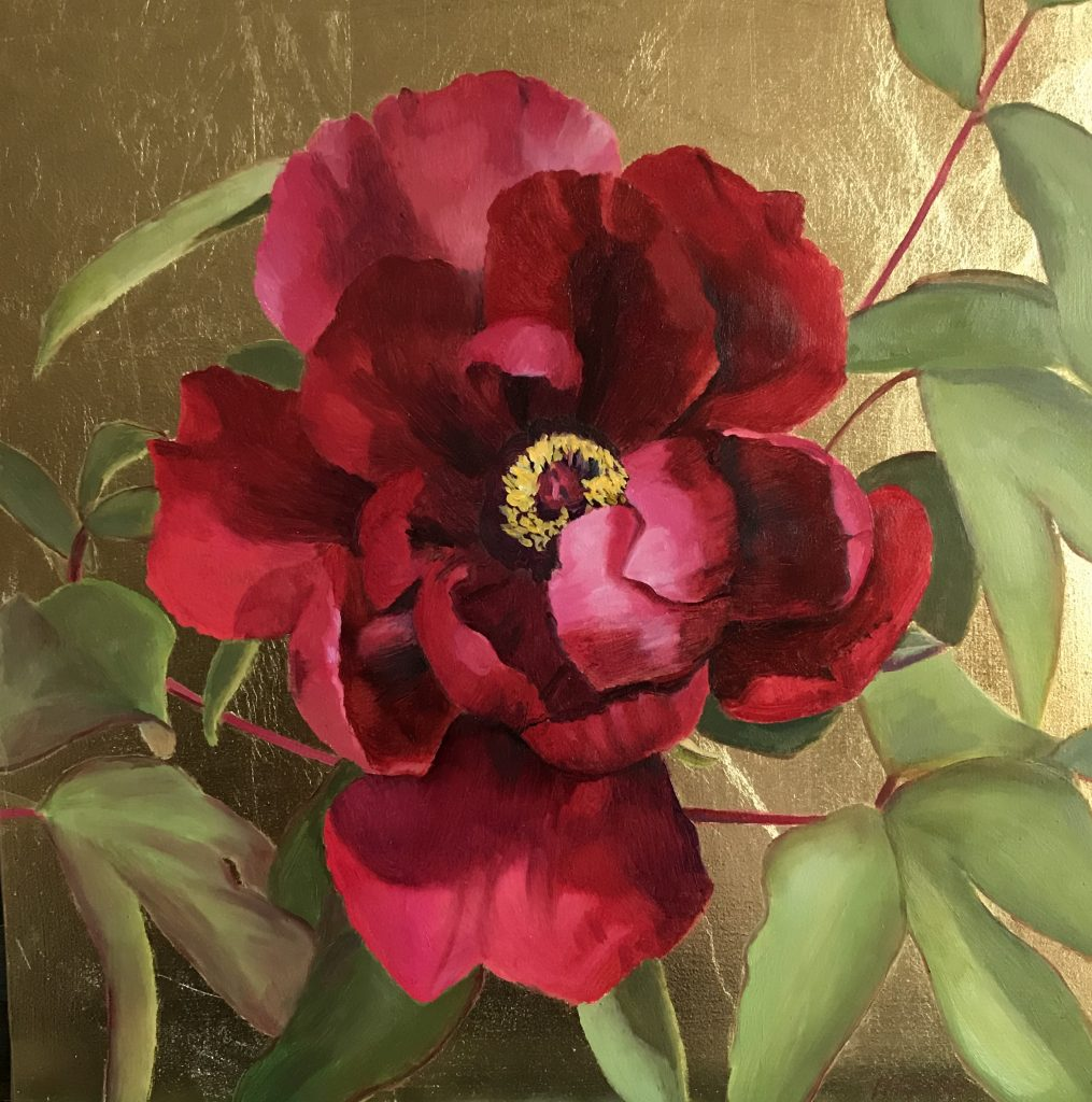 Nicola Currie - Red Peony on Gold - Limited edition Fine Art signed Print of an oil painting, Mounted - 20.32 x 20.32 cm - £60 (prices may slightly differ if purchasing outside the UK)