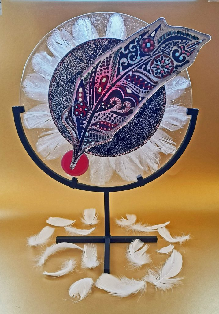 Susan Purser Hope - Feathers Fall, Soft as Song - Fused glass - 42 x 35 cm - £375