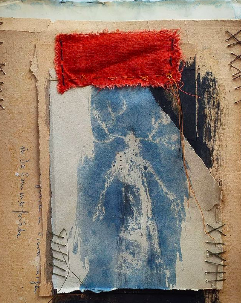 Laura Bodo Lajber - Self Portrait - Ink, wax, thread & fabric on vintage paper from the 1950s - 18 x 21 cm - £200