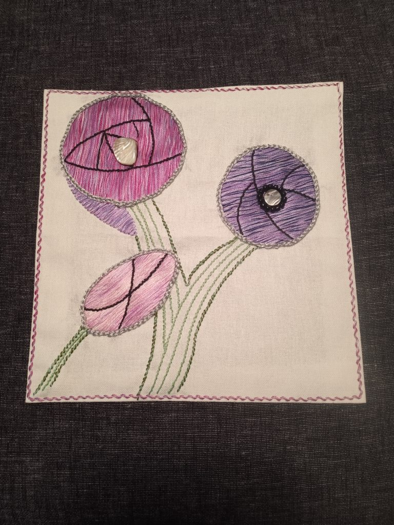 Stitched Panel with Beads 2 - Textiles