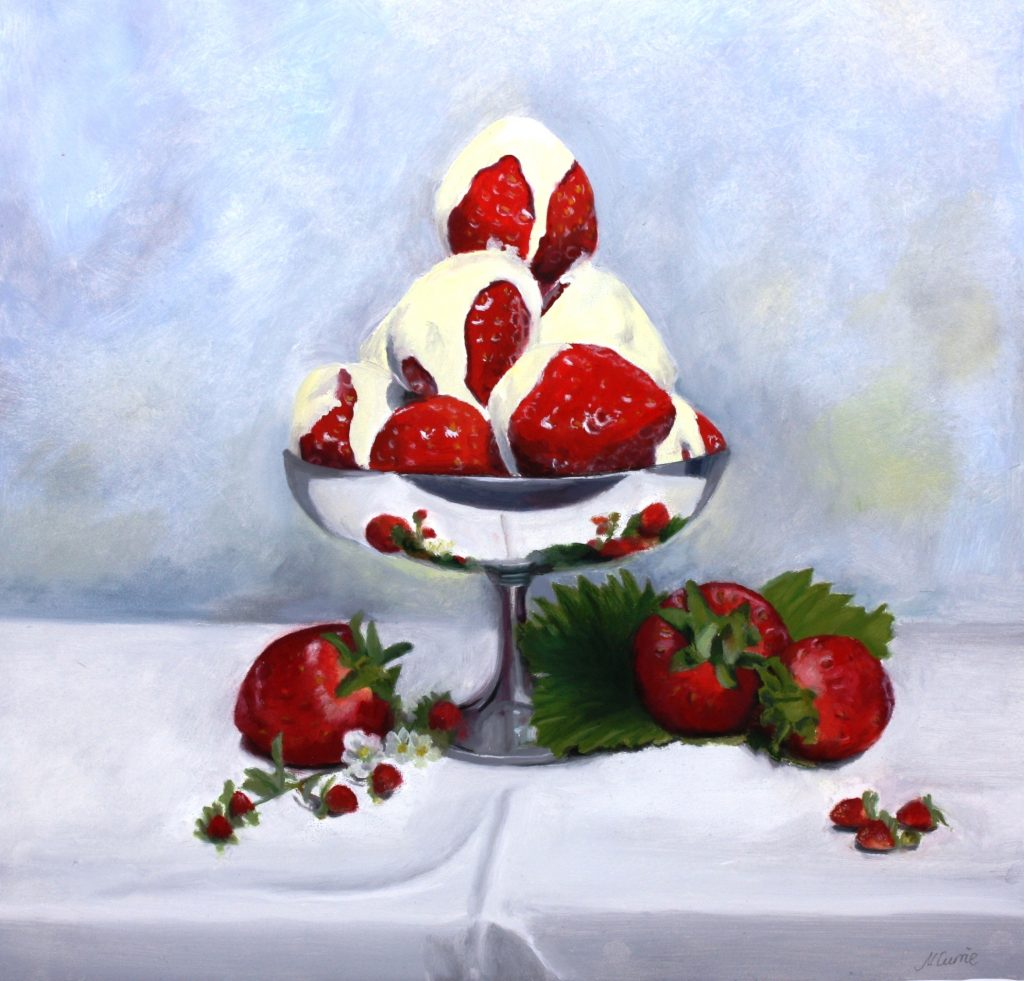 Nicola Currie - Strawberries and Cream - Oil on Board - 30.48 x 30.48 cm - painting Framed in a double white and duck egg blue frame- £250 (prices may slightly differ if purchasing outside the UK)