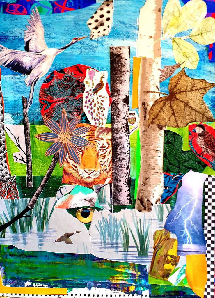 Philip McCumskey - The Pond - Acrylic and collage on canvas - 40 x 60 cm - £150