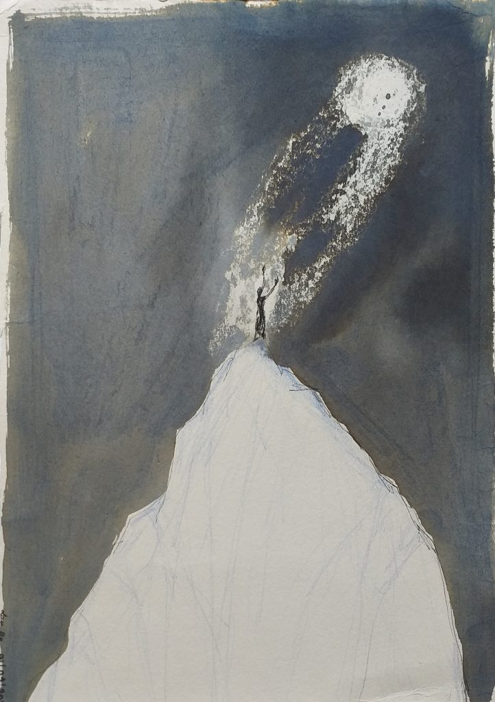Laura Bodo Lajber - Talking with The Moon - Ink on paper - 18 x 23 cm - £200