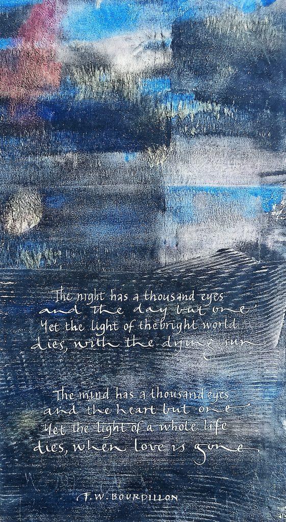 Jane Knights - The Night - Monoprint & gouache- 28 x 35.5 cm - including blue mount (unframed) - £100