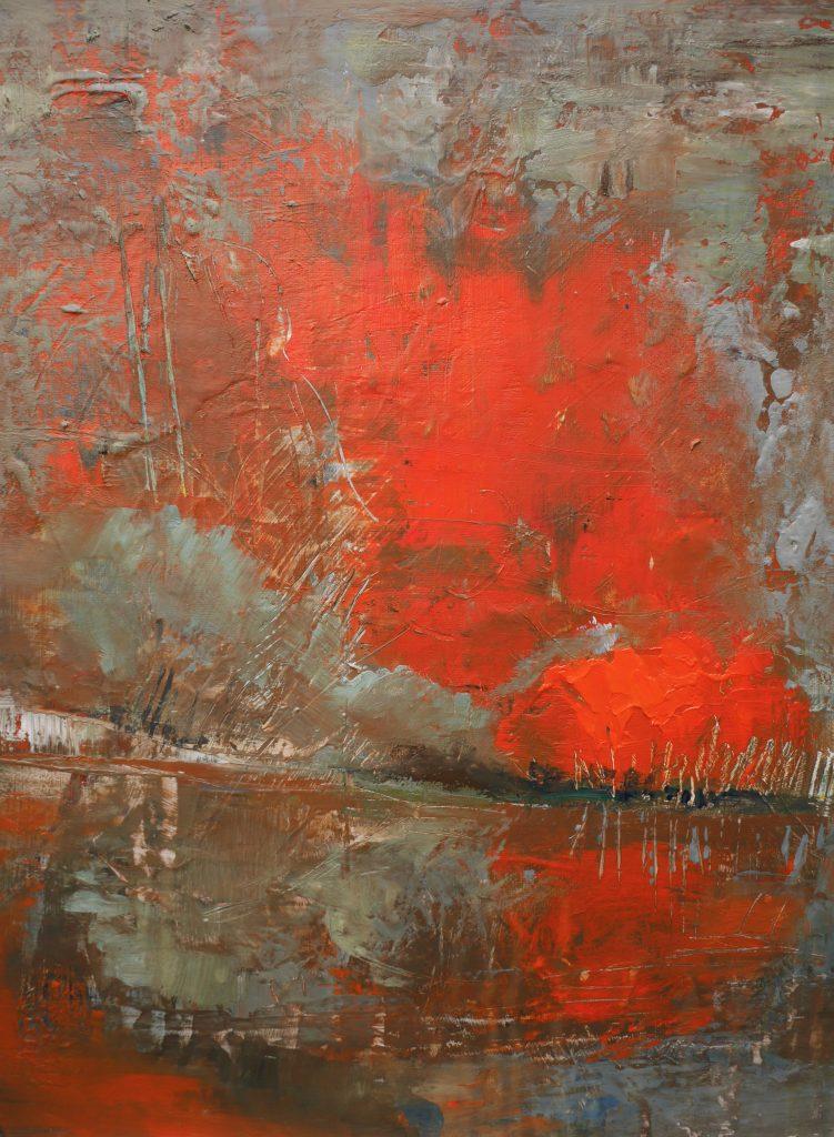 Alexandra Ghimisi - The burning sky - Acrylic on canvas - 30 x 40 cm - £350
