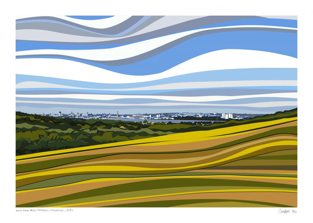 Chris Hall - View from Yate's Meadow - Giclée print on 310 gsm etching paper - Edition of 25 - 700 x 500 mm - £160 unframed or £220 framed