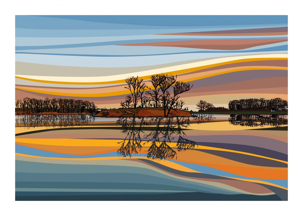 Chris Hall - Walthamstow Wetlands - - Giclée print on 310 gsm etching paper - Edition of 25 - 700 x 500 mm - £160 unframed or £220 framed
