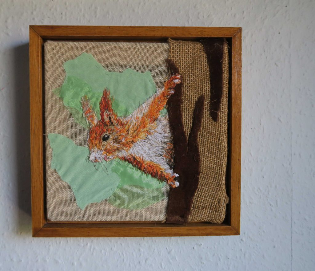 Emily Tull - Red Squirrel - Thread painting, hand stitched - 24 x 24 cm - £290