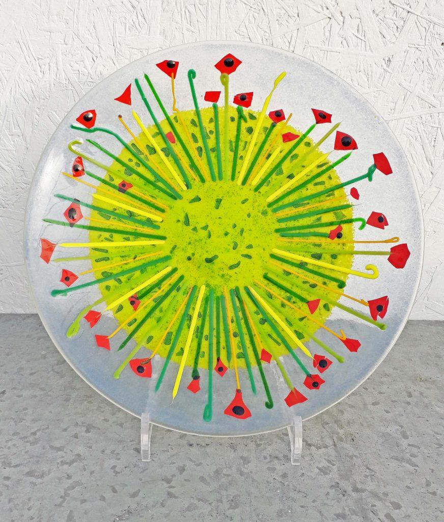 Susan Purser Hope - Poppy Parade Platter - Fused glass - 28 cm diameter - £195