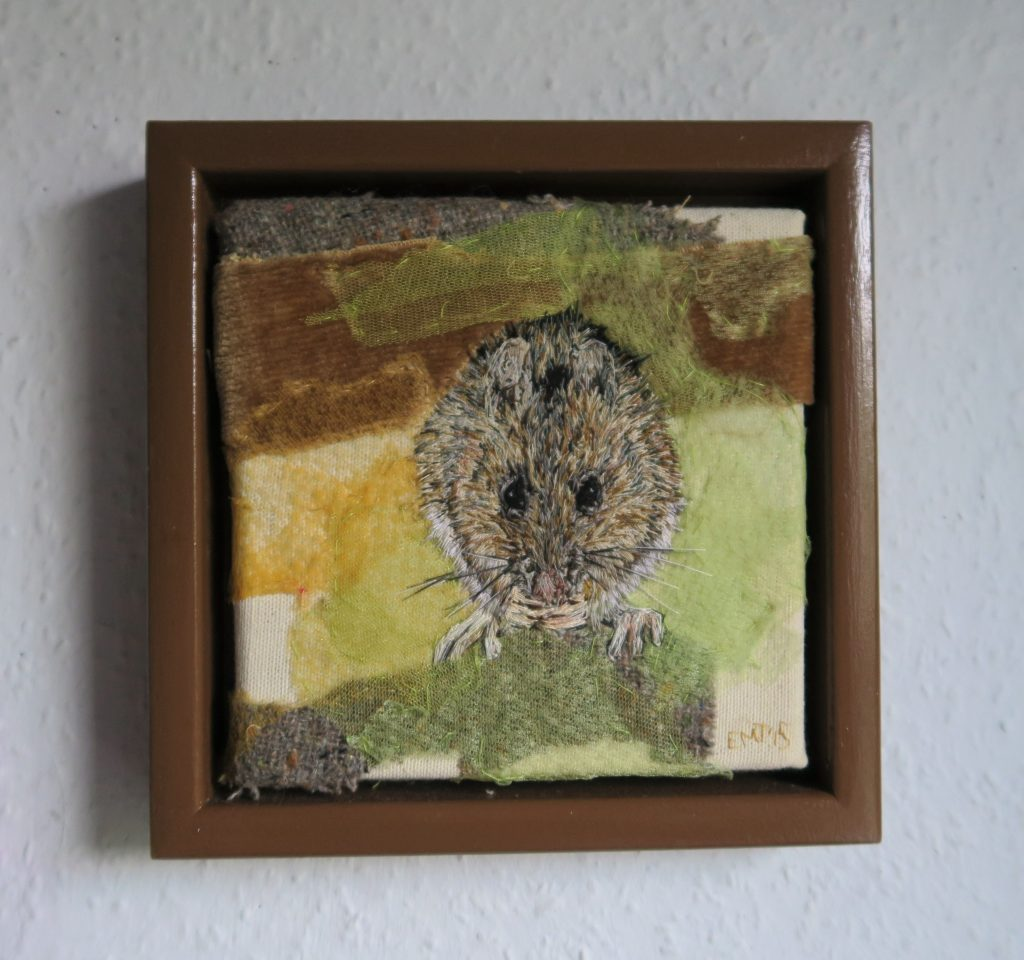 Emily Tull - Wood Mouse - Thread painting, hand stitched - 19 x 19 cm - £240