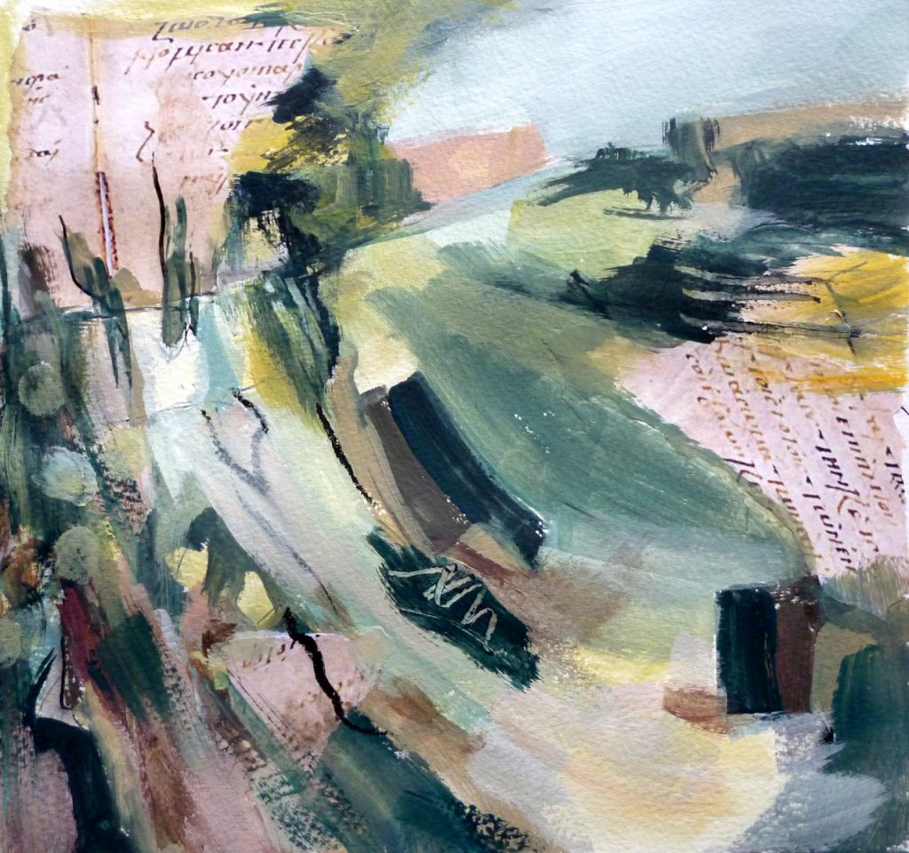 Nicky May - Written on the Land II - Acrylic - 24 x 24 cm, with mount 40 x 40 cm (unframed) - £120