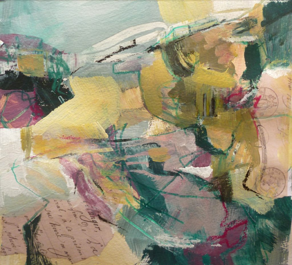 Nicky May - Written on the Land IV - Acrylic - 24 x 24 cm, with mount 40 x 40 cm (unframed) - £120