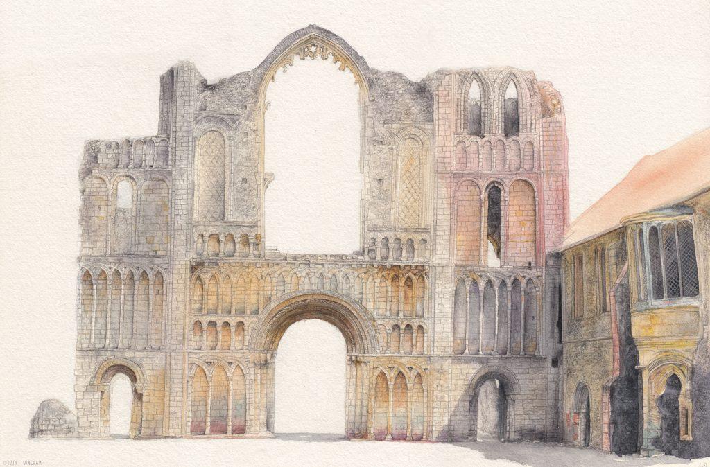 Izzy Wingham - Castle Acre Priory - Watercolour, colour pencil & graphite - NFS