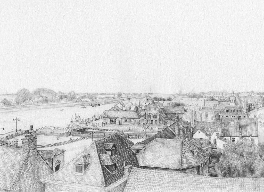 Izzy Wingham - King's Lynn docks view II - Graphite Pencil - NFS