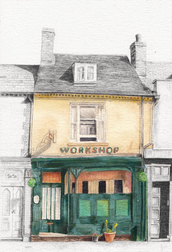 Izzy Wingham - The Workshop - Watercolour, colour pencil & graphite - 15.7 x 22.9 cm - £240