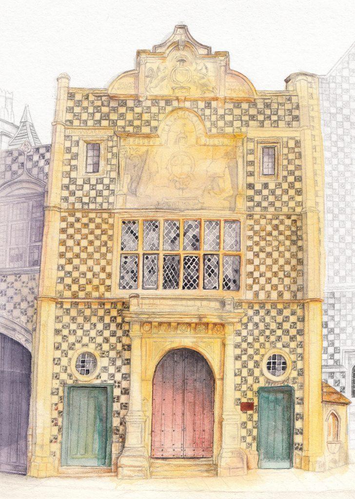 Izzy Wingham - Town Hal - Watercolour, colour pencil & graphite - 22.5 x 16 cm - £240