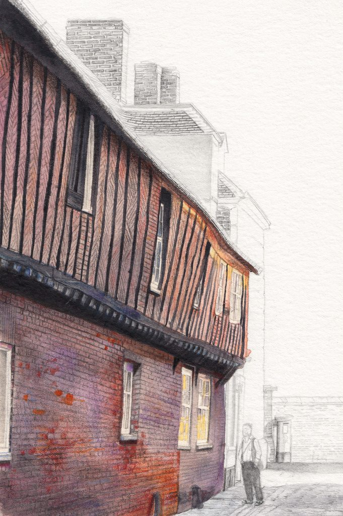 Izzy Wingham - Hanse House - Watercolour, colour pencil & graphite - 33.5 x 25 cm -£300