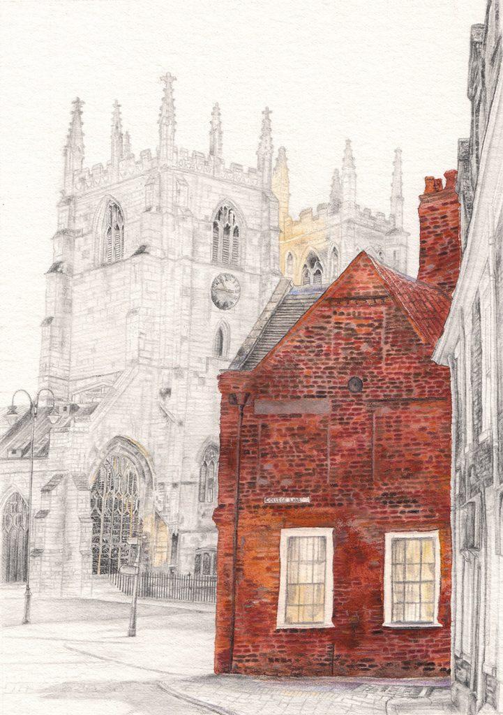 Izzy Wingham - View of the Minster - Watercolour, colour pencil & graphite - 23 x 15.9 cm - £240