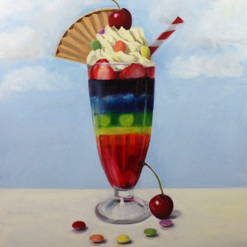 Nicola Currie - Lockdown Knickerbocker Glory - Oil paint on gesso board - 27.94 x 35.56 cm - £380